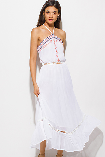 $20 - Cute cheap black tie dye print boho maxi sun dress - white embroidered semi sheer halter cut out backless tiered boho maxi sun dress