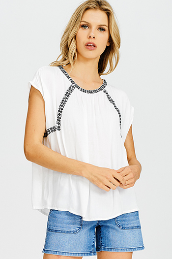 $15 - Cute cheap blue pinstripe rose patch ruffle tiered strapless boho tunic top - white embroidered short sleeve resort boho peasant blouse top