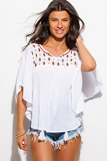 $15 - Cute cheap white denim floral embroidered mid rise cutoff boho jean shorts - white embroidered tassel dolman butterfly sleeve boho peasant blouse top