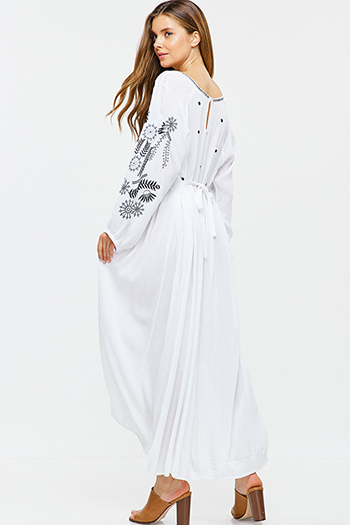 $40 - Cute cheap ruched fitted dress - White embroidered v neck tie waist keyhole back boho peasant maxi dress