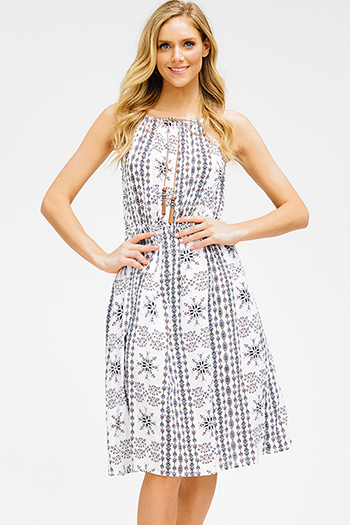 $15 - Cute cheap open back evening jumpsuit - white ethnic print halter tassel tie sleeveless racer back fit and flare boho midi sun dress
