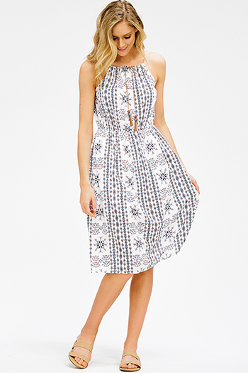 $15 - Cute cheap fitted cocktail mini dress - white ethnic print halter tassel tie sleeveless racer back fit and flare boho midi sun dress