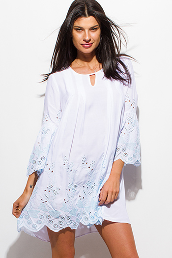 $15 - Cute cheap ribbed open back sexy party mini dress - white eyelet embroidered long sleeve scallop hem boho shift mini swing dress