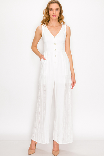 $30 - Cute cheap boho evening jumpsuit - White eyelet embroidered sleeveless button up pocketed boho wide leg jumpsuit