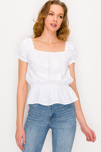 $15 - Cute cheap tie dye boho top - White eyelet embroidered square neck short sleeve boho blouse top