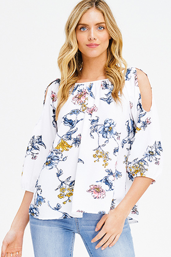 $15 - Cute cheap clothes - white floral print cold shoulder quarter sleeve keyhole tie back boho blouse top