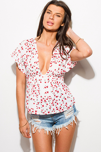 $10 - Cute cheap v neck fringe top - white floral print low v neck butterfly sleeve cut out back empire waist boho kimono top