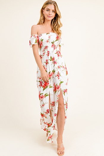 $20 - Cute cheap chiffon ruffle mini dress - White floral print off shoulder smocked bodice slit front boho maxi sun dress