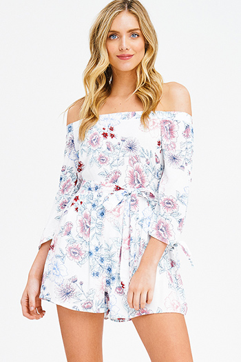 $15 - Cute cheap white low neck short sleeve slub tee shirt top - white floral print off shoulder tie sleeve tie waist boho romper playsuit jumpsuit