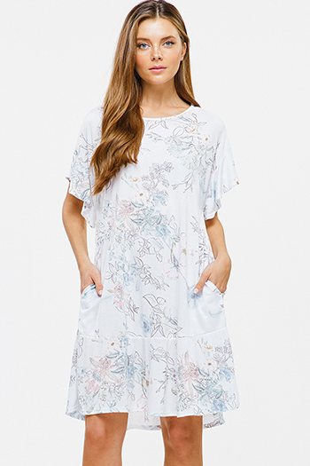 $12 - Cute cheap blue chambray sun dress - White floral print ruffle short sleeve pocketed boho mini dress