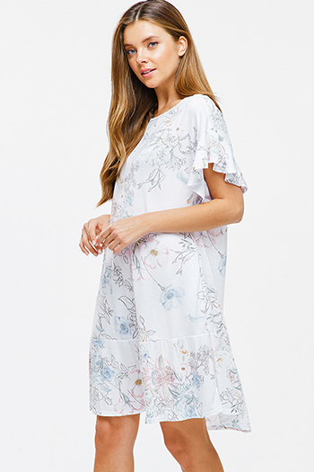 $12 - Cute cheap floral boho kimono romper - White floral print ruffle short sleeve pocketed boho mini dress