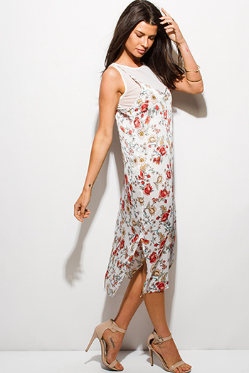 $12 - Cute cheap print slit boho tunic - white floral print sleeveless sheer mesh lined side slit boho midi dress