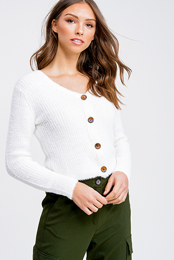 $25 - Cute cheap white asymmetrical hem quarter sleeve zip up fitted blazer jacket top - White fuzzy knit long sleeve cropped button up boho sweater top