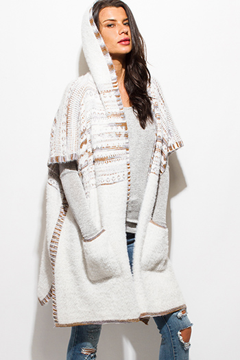 $25 - Cute cheap clothes - white fuzzy sweater knit ethnic print half sleeve pocketed hooded open front jacket