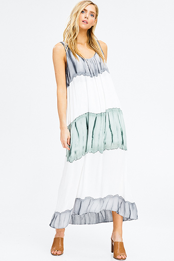 $25 - Cute cheap white cotton quarter sleeve faux pearl studded keyhole back tiered boho mini dress - white grey and teal ombre tie dye sleeveless resort boho maxi sun dress