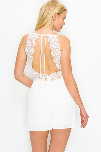 $15.00 - Cute cheap ivory white thin strap ethnic embroidered boho peasant swing tank top - White halter tie crochet lace cut out back boho resort romper playsuit jumpsuit