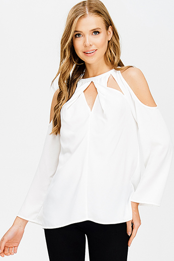$15 - Cute cheap cut out cocktail dress - white houndstooth textured cut out twist knot cold shoulder long sleeve boho blouse top