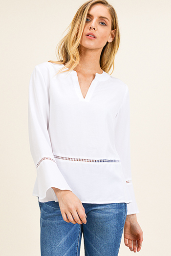 $15 - Cute cheap ribbed dolman sleeve top - White indian collar long bell sleeve crochet lace trim boho blouse top