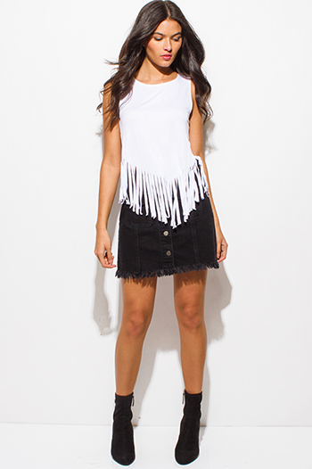 $10 - Cute cheap asymmetrical tank top - white jersey knit sleeveless fringe asymmetrical hem boho tank top
