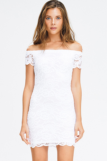 $12 - Cute cheap ribbed ruffle boho dress - white lace off shoulder bodycon fitted sexy club mini dress