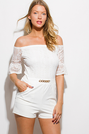 $15 - Cute cheap mesh backless fitted sexy club jumpsuit - white lace off shoulder embellished bell sleeve pocketed club romper jumpsuit