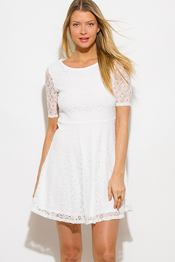 $15 - Cute cheap crepe slit sun dress - white lace short sleeve boho a line skater mini sun dress
