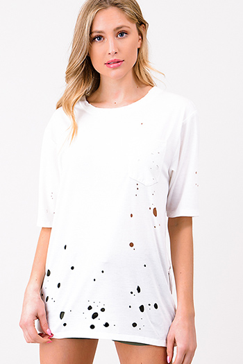 $15 - Cute cheap ivory white crochet lace panel long blouson sleeve button up boho blouse top - White laser cut destroyed zip up side short sleeve tee shirt top