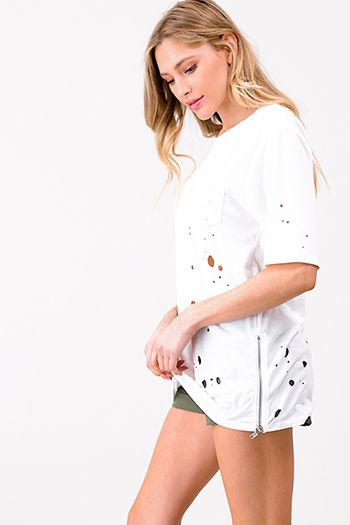 $10 - Cute cheap khaki tan off shoulder wide short sleeve crochet applique criss cross boho blouse top - White laser cut destroyed zip up side short sleeve tee shirt top