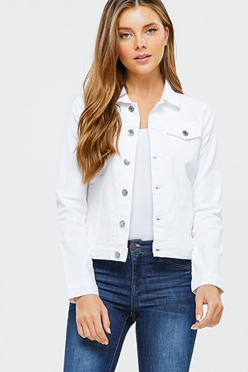 $25 - Cute cheap navy blue sheer floral print zip up boho bomber jacket - White lightweight twill denim long sleeve button up pocketed jean jacket