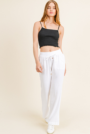 $15 - Cute cheap pocketed boho pants - White linen banded waist pocketed wide leg pocketed culotte boho summer resort pants
