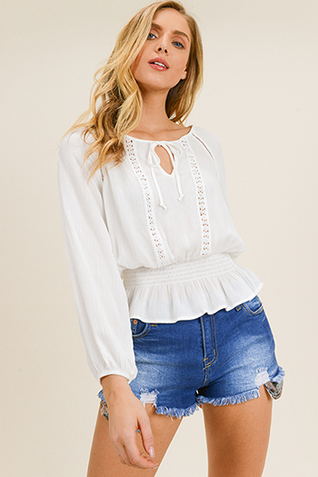 $13 - Cute cheap white denim long sleeve button up lined pocketed jean jacket - White long sleeve crochet lace applique smocked ruffle hem boho peasant blouse top