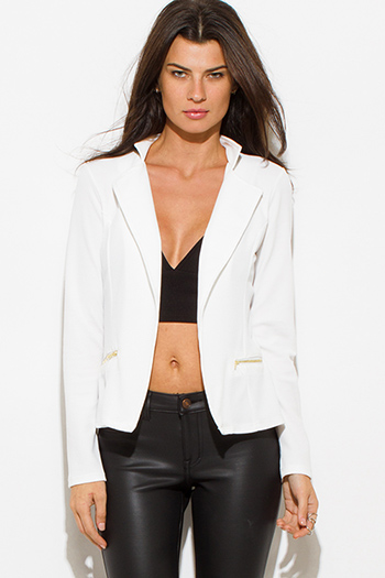 $25 - Cute cheap ivory white mandarin collar long sleeve zip up fitted jacket crop top - white long sleeve open front zipper pocket fitted blazer jacket