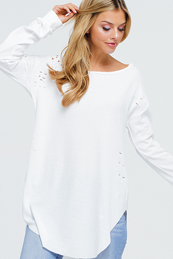 $15 - Cute cheap ivory white crochet lace panel long blouson sleeve button up boho blouse top - White long sleeve round neck distressed paint streaks boatneck thermal tunic top