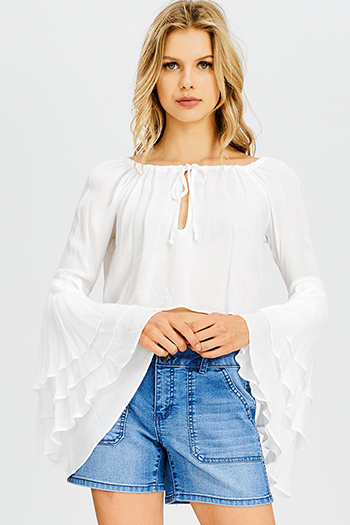 $15 - Cute cheap lime green sheer gauze pom pom textured boho beach cover up tunic top - white long tiered trumpet bell sleeve keyhole front boho crop blouse top
