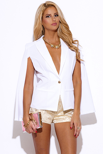 $30 - Cute cheap ivory white sheer stripe mesh contrast asymmetrical zip up moto blazer jacket top - white military button cape jacket suiting blazer top