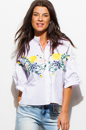 $15 - Cute cheap gauze blouse - white multicolor floral embroidered short bubble sleeve button up boho blouse top