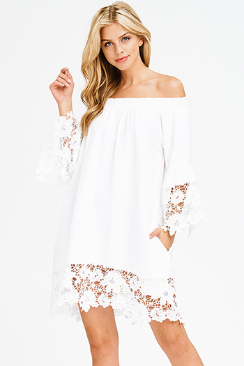 $15 - Cute cheap bell sleeve shift dress - white off shoulder long angel sleeve crochet trim pocketed boho shift mini dress