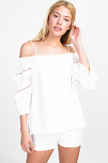 $15 - Cute cheap boho pants - White off shoulder ruffle tiered quarter sleeve boho blouse top