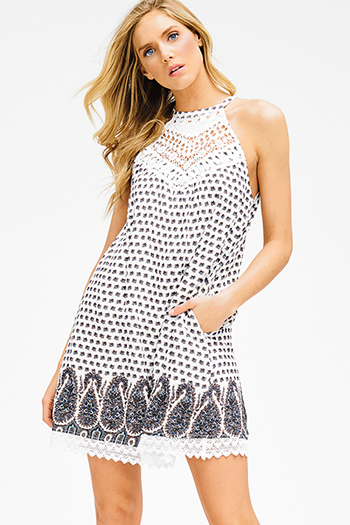 $15 - Cute cheap pleated mini dress - white paisley print sleeveless crochet pocketed racer back boho shift mini dress