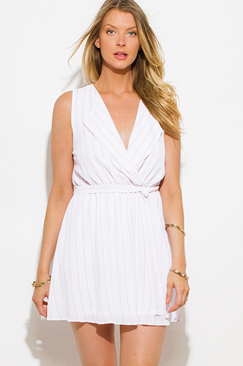 $10 - Cute cheap crepe backless wrap dress - white peach pink pinstripe sleeveless faux wrap mini shirt dress