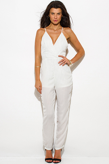 $15 - Cute cheap v neck fitted sexy club jumpsuit - white pinstripe front faux wrap v neck cross strap open back evening party skinny jumpsuit