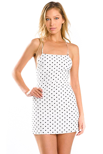 $25 - Cute cheap black ribbed knit sleeveless zip up bodycon fitted pencil sexy club midi dress - white polka dot print sleeveless backless cocktail party shift apron mini dress