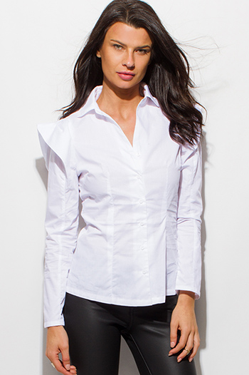 $15 - Cute cheap satin asymmetrical blouse - white power shoulder long sleeve fitted button up blouse top