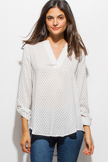 $15 - Cute cheap sheer slit boho top - white print indian collar quarter sleeve boho blouse top