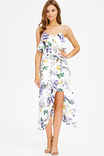 $15 - Cute cheap satin bejeweled evening dress - white purple multicolor floral print ruffle tiered slit boho maxi sun dress