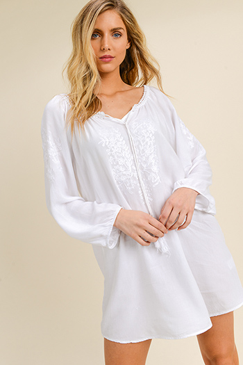 $20 - Cute cheap ruched fitted mini dress - White rayon embroidered long sleeve boho beach cover up mini sun dress