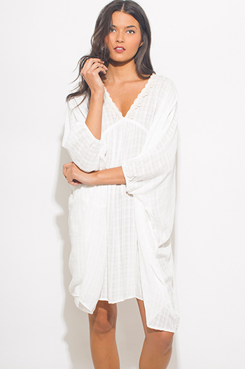 $20 - Cute cheap white bejeweled cocktail dress - white rayon gauze butterfly sleeve boho beach cover up tunic mini dress kaftan