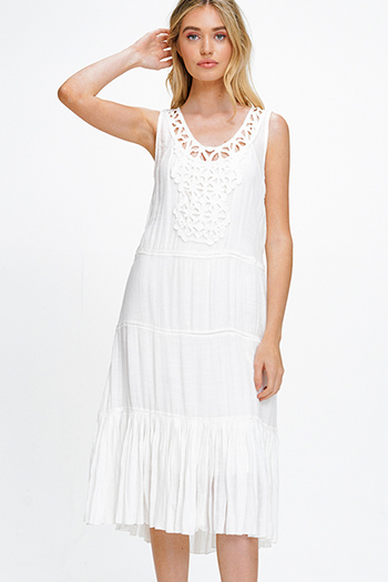 $20 - Cute cheap white denim mid rise distressed pearl studded frayed boho cutoff embellished jean shorts - White rayon gauze sleeveless crochet applique tiered pleated hem boho peasant midi sun dress
