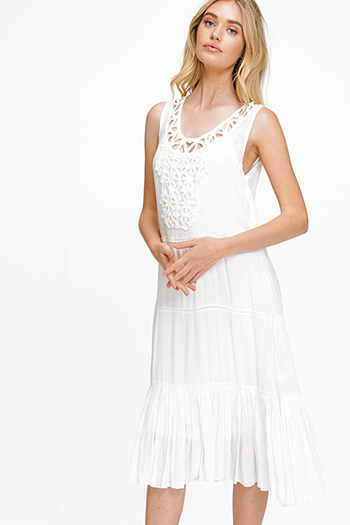 $20 - Cute cheap boho belted mini dress - White rayon gauze sleeveless crochet applique tiered pleated hem boho peasant midi sun dress