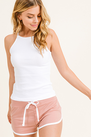 $10 - Cute cheap ribbed fitted sexy club sweater - White ribbed halter racer back fitted cami tank top